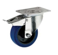 Blue Elastic Rubber Swivel Top Plate Braked 100mm