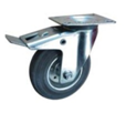 Pressed Steel Swivel Top Plate Braked 80mm