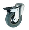 Grey Rubber Swivel Bolt Hole Braked 125mm