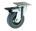 Grey Rubber Swivel Top Plate Braked 125mm